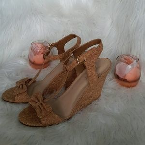Cork Bow Shoe Dazzle Strap Wedges